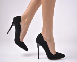Дамски елегантни обувки набук черни ABSD-1011767