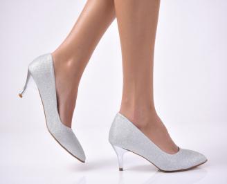 Дамски елегантни обувки сребристи HIMT-1013520
