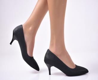 Дамски елегантни обувки текстил ситен брокат черни OCUR-1013551