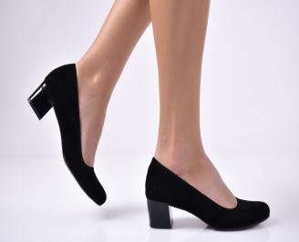 Дамски елегантни обувки гигант еко набук черни SQHF-1013561