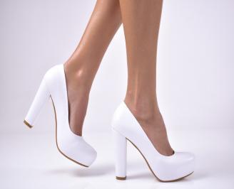 Дамски елегантни обувки еко кожа бели. AXZJ-1013607