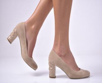 Дамски елегантни обувки еко велур бежови. FNVM-1013609