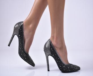 Дамски елегантни обувки текстил едър брокат сребристи UIHM-1013643
