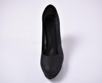 Дамски елегантни обувки гигант текстил/сатен черен. PKAY-1013644