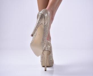 Дамски елегантни обувки текстил едър брокат златисти SDXV-1013645