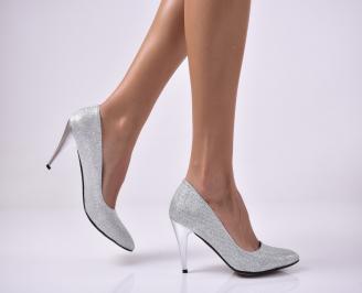 Дамски елегантни обувки текстил брокат сребристи. DGGZ-1013646