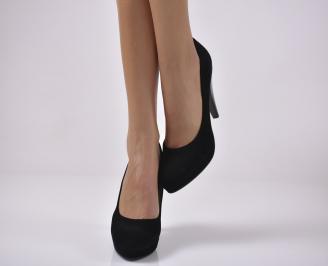 Дамски елегантни обувки еко велур черни HBTQ-1013647
