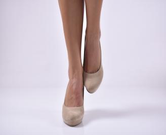 Дамски елегантни обувки еко велур бежови KBHD-1013650