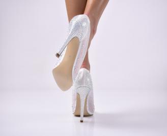 Дамски елегантни обувки текстил едър брокат бели. ADSQ-1013651