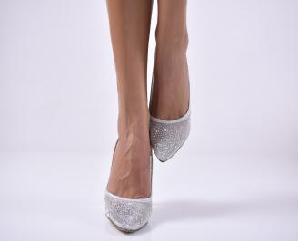 Дамски елегантни обувки текстил едър брокат сребристи. BOUJ-1013652