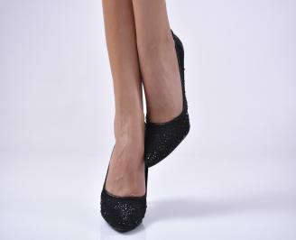 Дамски елегантни обувки текстил едър брокат черни. QWBO-1013654