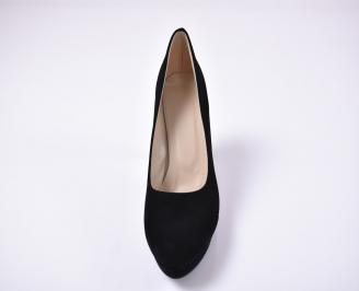 Дамски елегантни обувки гигант еко велур черни. UYNS-1013655