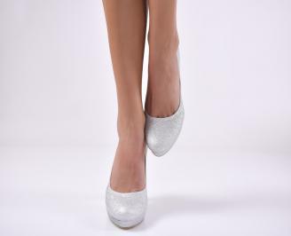 Дамски елегантни обувки текстил брокат сребристи. HDYP-1013728