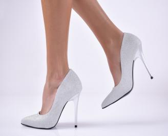 Дамски елегантни обувки текстил брокат сребристи. EVAI-1013730