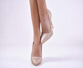 Дамски елегантни обувки текстил брокат златист. SEIG-1013731