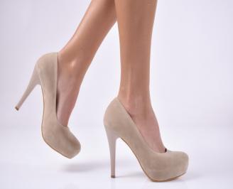 Дамски елегантни обувки еко велур бежови WWOB-1013732