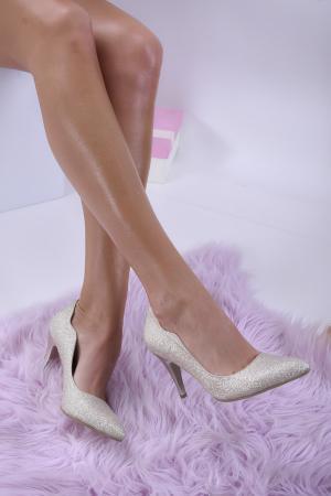 Дамски елегантни обувки текстил брокат златист. OIRL-1013733
