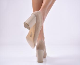 Дамски елегантни обувки еко набук бежови. EHSE-1013734