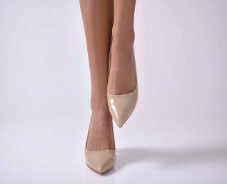 Дамски елегантни обувки еко кожа бежови QSSV-1013738