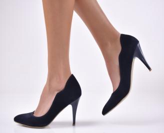 Дамски елегантни обувки еко велур сини JLOU-1013744