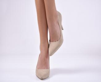 Дамски елегантни обувки еко велур бежови YGKP-1013747