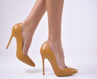 Дамски елегантни обувки еко кожа жълти XEIL-1013749