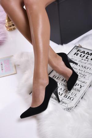 Дамски елегантни обувки еко велур черни GNSG-1013751
