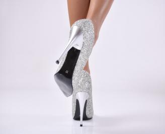 Дамски елегантни обувки  текстил/брокат сребрист CELR-1013758