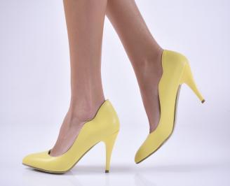 Дамски елегантни обувки еко кожа жълти EFPD-1013816