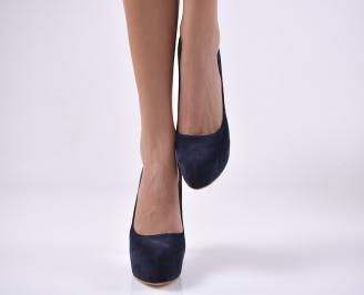 Дамски елегантни обувки еко еко набук тъмно сини XRHF-1013819
