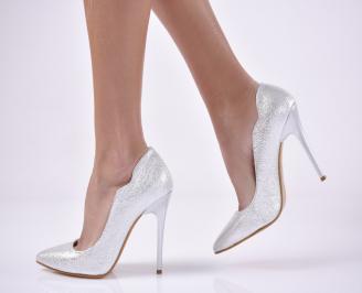 Дамски елегантни обувки еко кожа сребристи. BULY-1013821