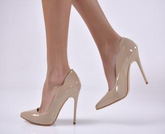 Дамски елегантни обувки  еко лак бежови GAHM-1013824