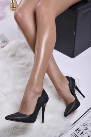 Дамски елегантни обувки текстил ситен брокат черни COEO-1013827