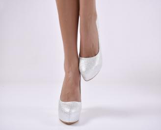 Дамски елегантни обувки еко кожа сребристи. JCRA-1013830