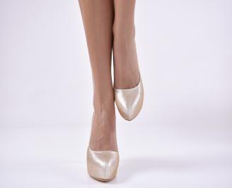 Дамски елегантни обувки еко кожа златисти. TMTY-1013831