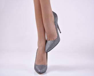 Дамски елегантни обувки текстил ситен брокат сребристи XDWI-1013833