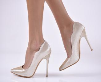 Дамски елегантни обувки еко кожа златисти. XLMF-1013837