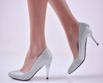 Дамски елегантни обувки сребристи  GQQB-1015058