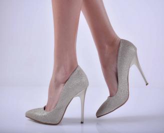 Дамски елегантни обувки ситен брокат златисти  DYHB-1015067