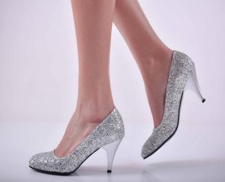 Дамски елегантни обувки едър брокат сребристи  GQZH-1015069