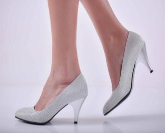 Дамски елегантни обувки ситен брокат сребристи  VJXA-1015070