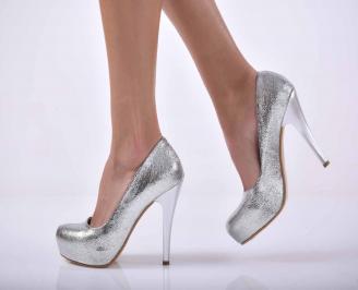 Дамски елегантни обувки сребристи  MSJE-1015270