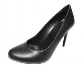 Дамски елегантни обувки на ток естествена кожа черни BPPF-20082