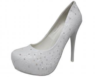 Дамски елегантни обувки на ток еко кожа бели TNAQ-20281