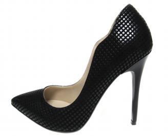 Дамски елегантни обувки на ток черни еко кожа TRWB-20461