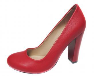 Дамски елегантни обувки на ток еко кожа червени HBAD-20738