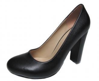 Дамски елегантни обувки на ток еко кожа черни RKUZ-20739