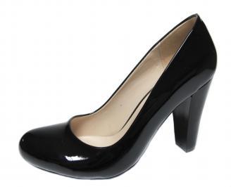 Дамски елегантни обувки на ток еко кожа/лак черни TZSL-20742