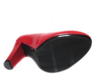 Дамски елегантни обувки на ток еко кожа/лак червени FKII-20745