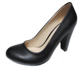 Дамски елегантни обувки на ток еко кожа черни EIAV-20746